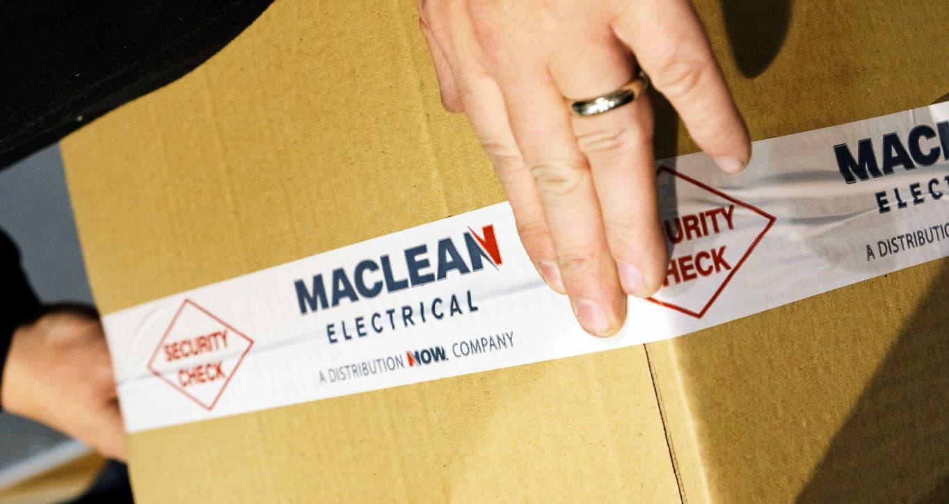 MacLean tape on box