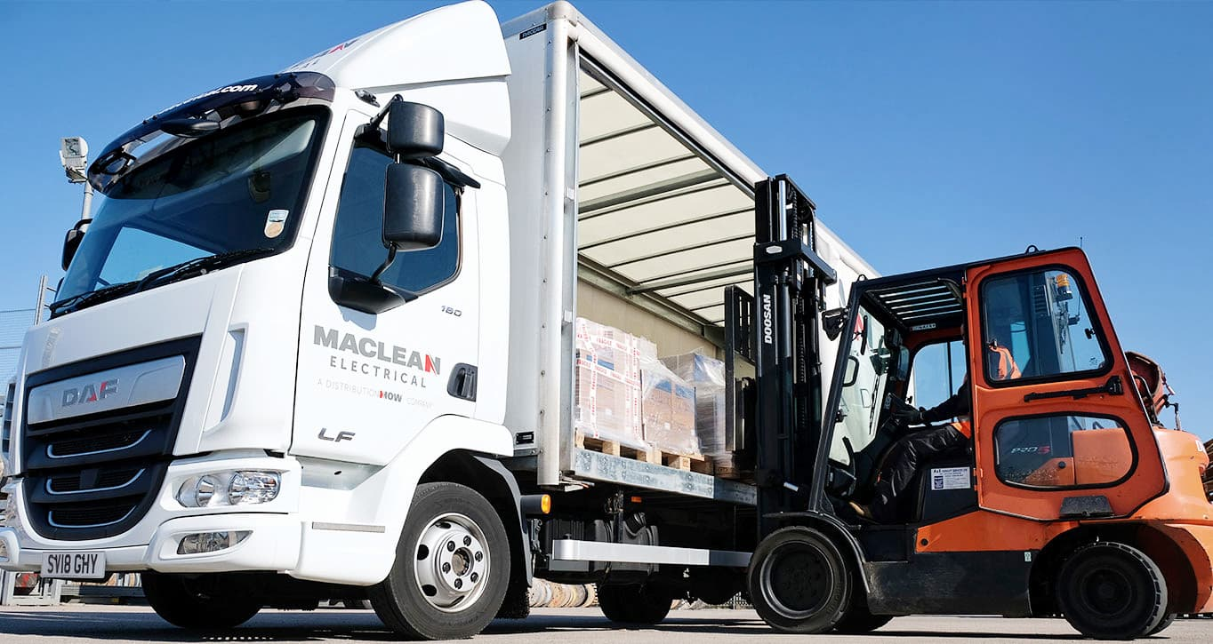 MacLean truck loading product by forklift