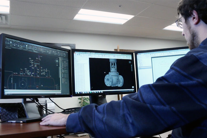 DNOW U.S. Process Solutions engineer designing an automation and control package