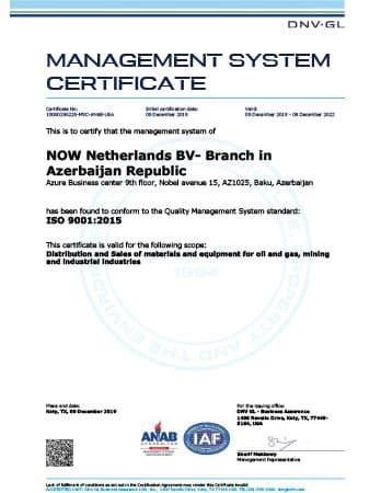 ISO 9001 Certificate - DNOW Azerbaijan