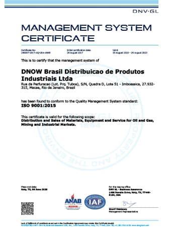 ISO 9001 Certificate - DNOW Brazil (Macae)