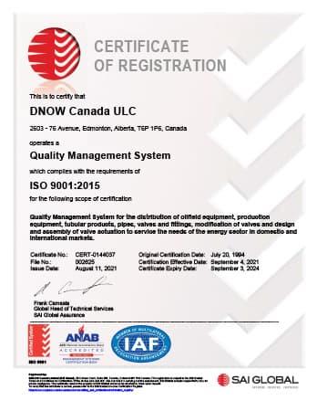 ISO 9001 Certificate - DNOW Canada ULC (Edmonton)