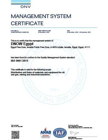ISO 9001 Certificate - DNOW Egypt (Ismailia)