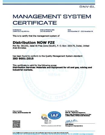 ISO 9001 Certificate - DNOW FZE (Dubai)