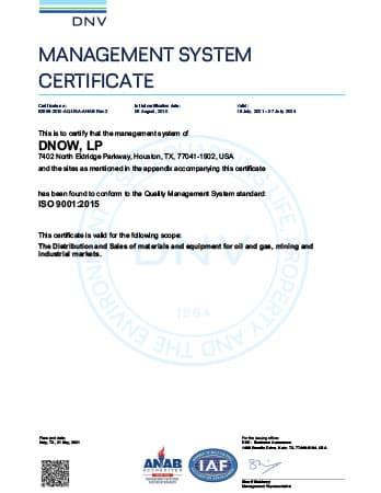 ISO 9001 Certificate - DNOW LP (Houston)
