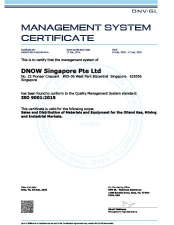 ISO 9001 Certificate - DNOW Singapore