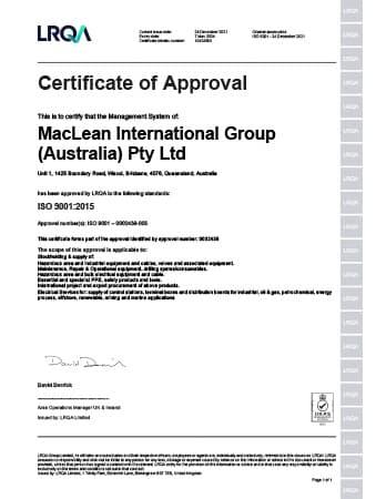 ISO 9001 Certificate - MacLean Electrical (Brisbane)