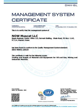 ISO 9001 Certificate - NOW Muscat LLC (Oman)