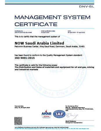 ISO 9001 Certificate - NOW Saudi Arabia Ltd. (Dammam)