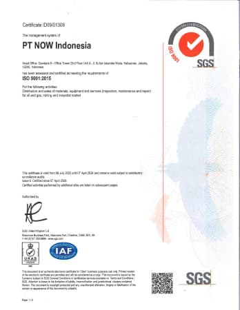 ISO 9001 Certificate - PT NOW Indonesia (Jakarta)