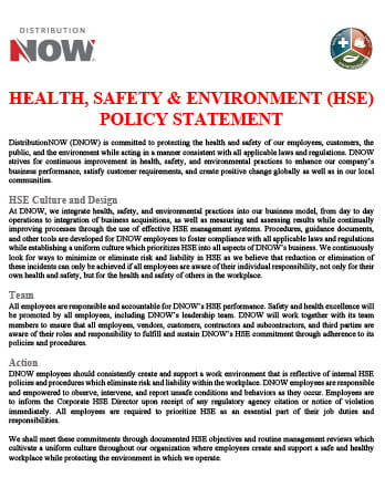 DNOW HSE Policy Statement
