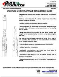 Dura Products Auto Deployment and Retrieval Tool Product Sheet