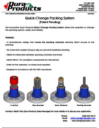 Dura Products Quick Change Packing System Product Sheet