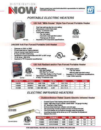 DNOW TPI Corp. Electric Heaters Flyer