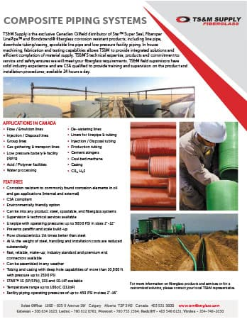 TS&M Fiberglass Piping Systems Flyer - Canada