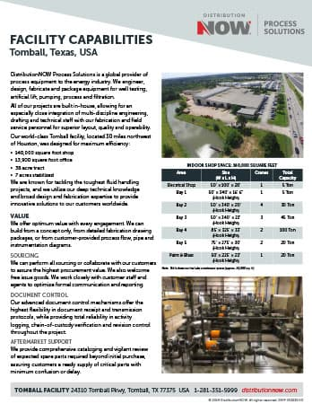 DNOW Process Solutions Tomball Facility Capabilities