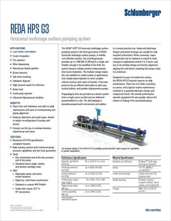 Schlumberger REDA HPS G3 Datasheet