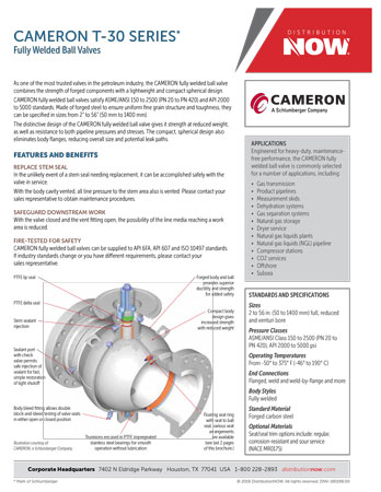 DNOW CAMERON T-30 SERIES Fully Welded Ball Valves Flyer
