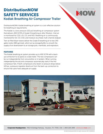 DNOW Safety Services Kodiak Breathing Air Compressor Trailer Flyer