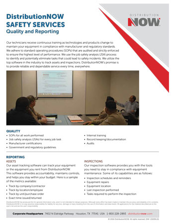 DNOW Safety Services Quality & Reporting Flyer