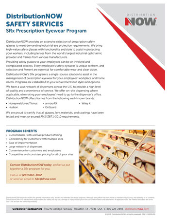 DNOW Safety Services SRx Prescription Eyewear Program Flyer