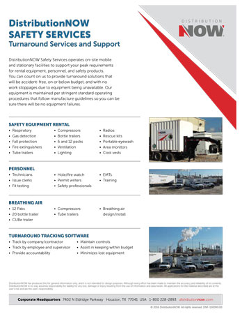 DNOW Safety Services Turnaround Services & Support Flyer